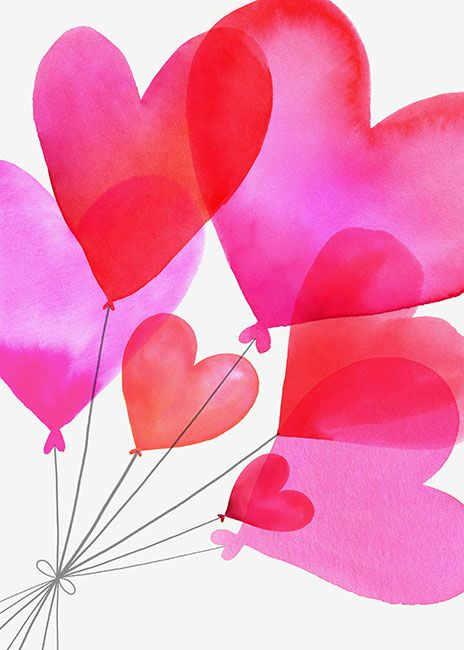 Margaret Berg Art: Heart+Balloons+Bouquet