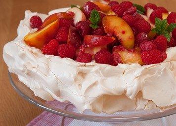 Mascarpone and peach pavlova recipe | Baking & Desserts