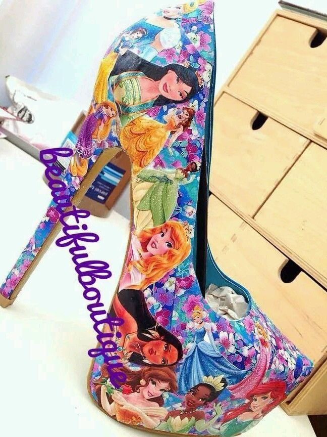 DISNEY PRINCESS HANDMADE DECOUPAGE HEELS SHOES WOMEN LADIES FASHION PARTY  WEDDIN | eBay
