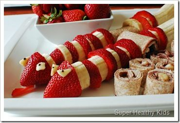 Strawberry & banana snake snacks: Fun Food, Recipe, Food Ideas, Healthy Snacks, Kids, Snakes, Snake Snack