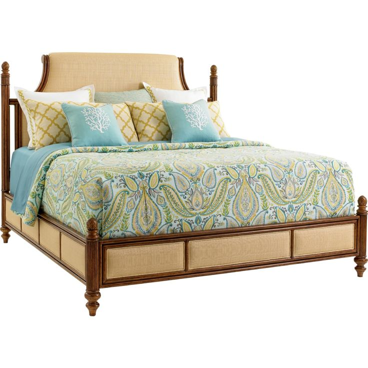 Tommy Bahama Home Orchid Bay Panel Bed in Carribean Sunset Finish w/ Bermuda Sands Fabric (Queen) #dynamichome #tommybahama #tommybahamahome #furniture #tropical #bed #queenbed #homedecor #interiors #interiordesign #designer #luxe #balihai #bedroom #rattan #island #coastal #orchidbay #carribean #style