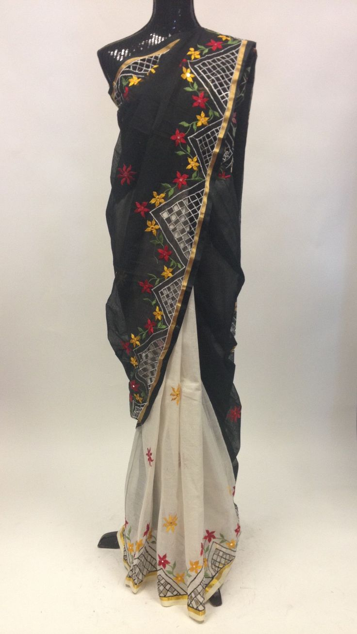 Chanderi Cotton Saree - Black & Off White