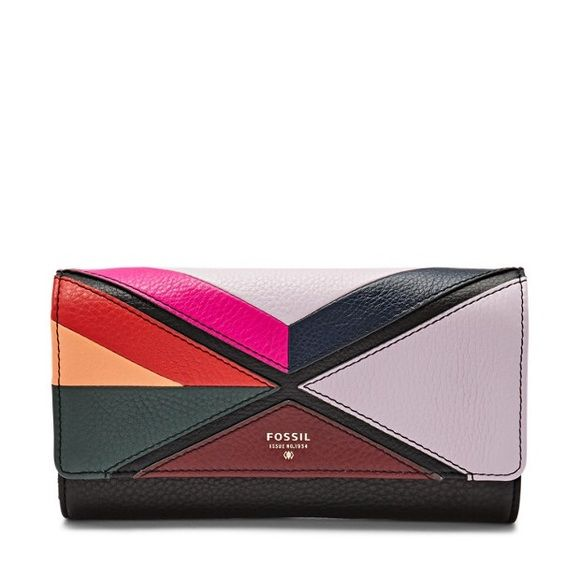 Fossil Leather Zip Around Wallet Brand new fossil wallet, color block triangles Fossil Bags Wallets