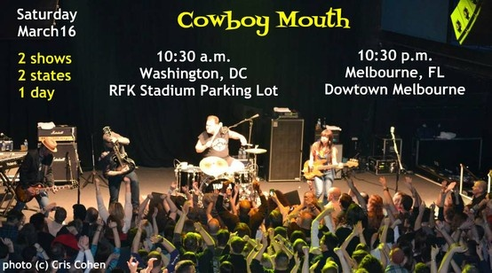 Poster for Cowboy Mouth shows in Washington, DC and Melbourne, FL on the same day