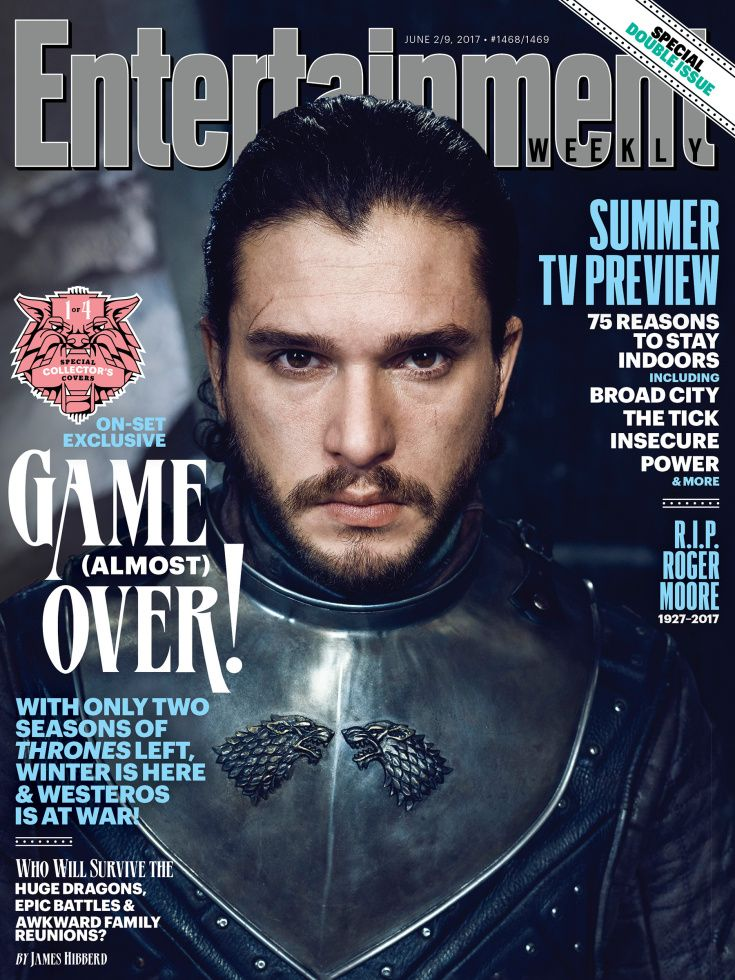 Jon Snow wears a direwolf sigil on his armor fo one of our covers...