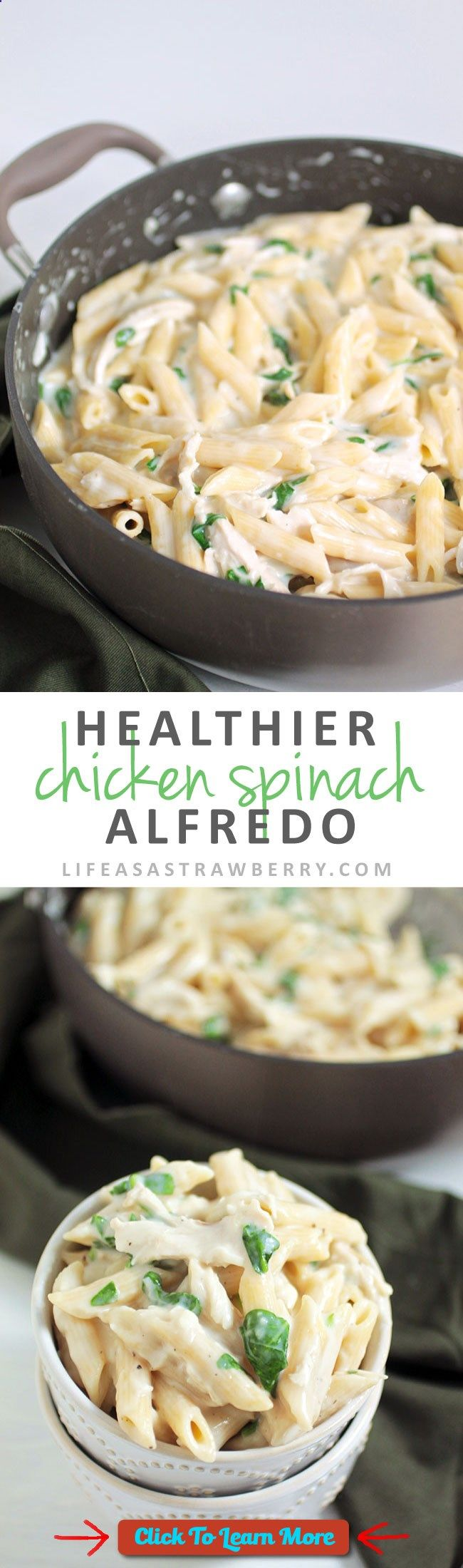 #FastestWayToLoseWeight by EATING, Click to learn more, Healthier Chicken Spinach Alfredo | Lighten up a classic Fettuccine Alfredo recipe with this easy pasta recipe! Ready in 30 minutes with no heavy cream. A great healthy recipe for busy weeknights with chicken and plenty of fresh spinach. , #HealthyRecipes, #FitnessRecipes, #BurnFatRecipes, #WeightLossRecipes, #WeightLossDiets
