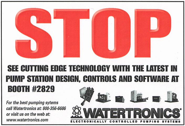 Watertronics trade show publication  ad - was given a small budget for only a 2 color ad. Needed something to make people stop and look at it.