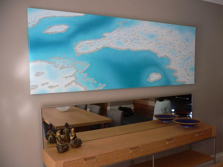 tropical coral reef painting, tropical interiors, coral reef, Great Barrier Reef, ocean art, oil painting, realism painting