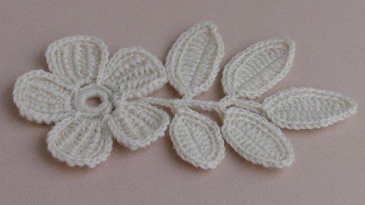 Вязание ЦВЕТКА. Урок вязания.Плоский цветок с лепестками тунисского вяза...