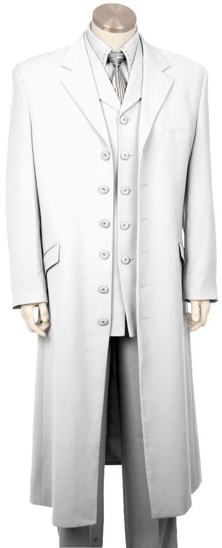 Mens Stylish Long Zoot Suit + Shirt + Tie + Vest White 45 Long Jacket EXTRA LONG JACKET Maxi Very Long / This is one BAD-ASS suit