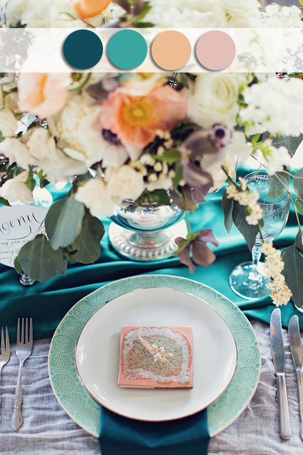 teal and peach october wedding colors for fall 2015