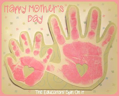 Create a simple handprint card with your child for Mother's Day or any occasion.Hands Prints, Cards Ideas, Simple Handprint, Handprint Crafts, Grandparents Day, Blowing Kisses, Kids Crafts, Handprint Cards Mothers, Handprint Gift