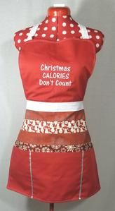 Christmas calories don't count Apron.    This full length Apron is Red and White Christmas themed.  Embroidery is white in colour.  Look cute this Christmas season in this Christmas themed Apron.  Or maybe gift this apron as a Christmas/holiday gift.
