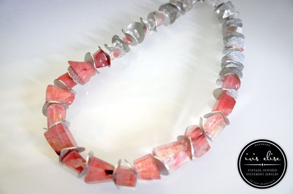 Pink & Silver Cherry Quartz Chunky Statement Necklace #iriselise #handmade #jewelry