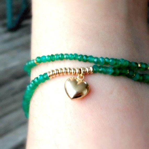 Green Bracelet Onyx Gemstone Wrap Gold Jewelry by jewelrybycarmal, $60.00