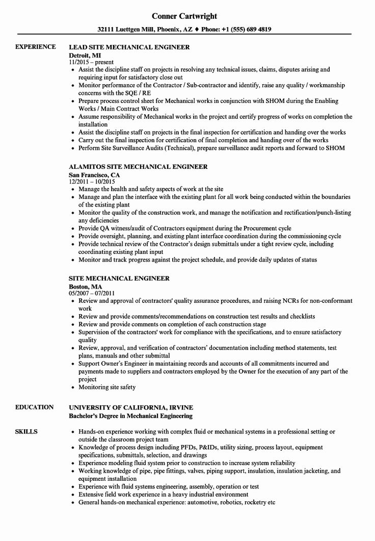 25 mechanical engineer resume template in 2020 project
