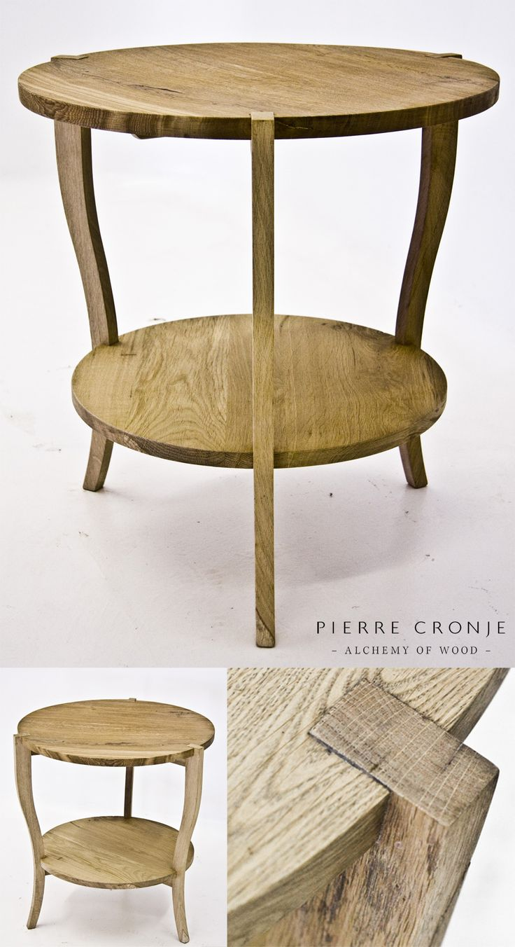 A Pierre Cronje Metro Round Side table with a simple cabriole leg in natural French Oak
