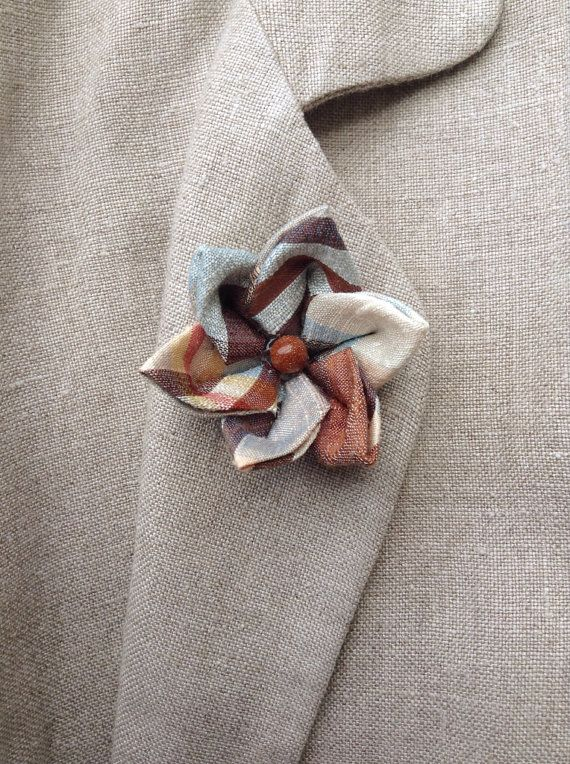 Men's Lapel Flower Pin: Kanzashi Plaid Silk