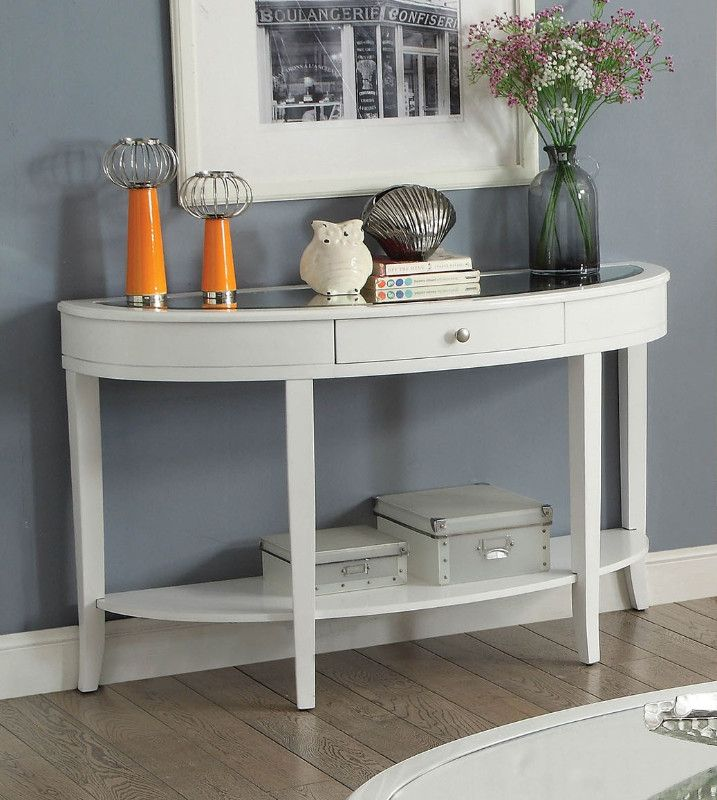 Cm4950wh S Silver Mist White Finish Wood Beveled Glass Top Sofa Table Furniture Of America White Console Table Furniture