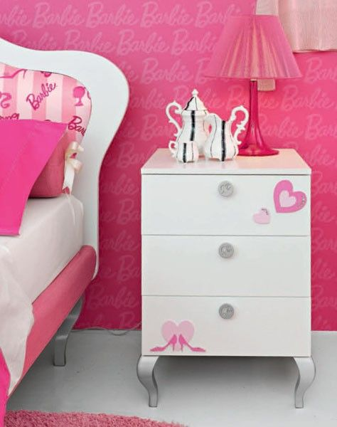 pink side table wall paper barbie doll theme