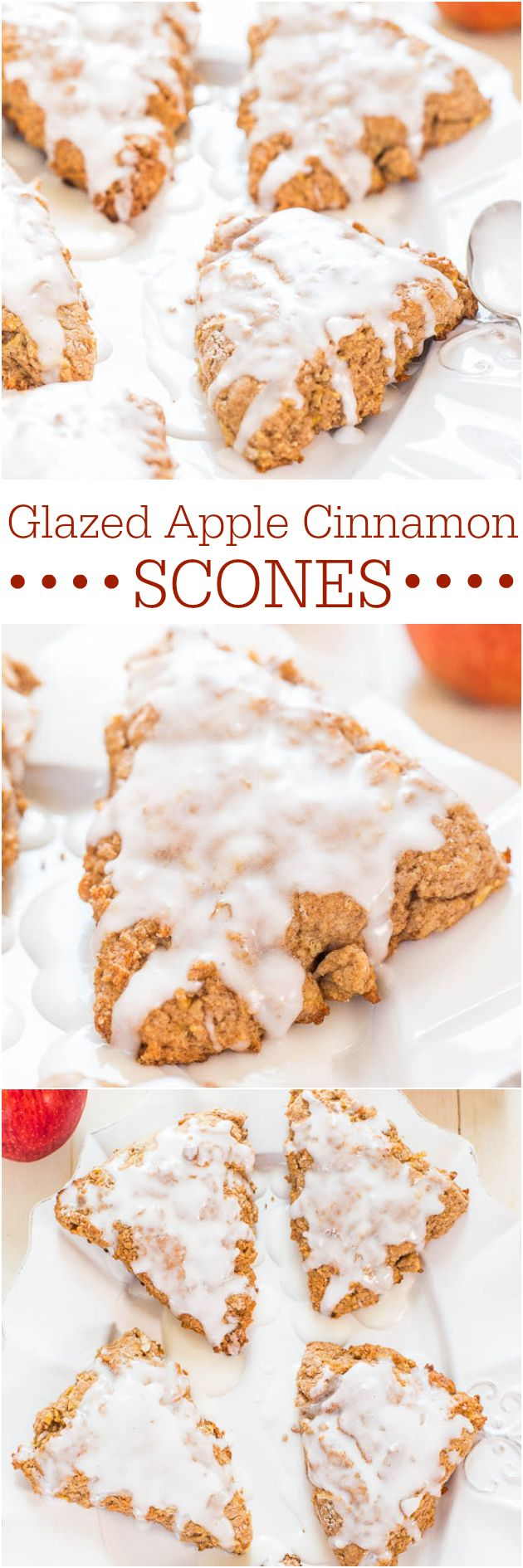 Glazed Apple Cinnamon Scones - Finally, scones that arent dry! The perfect fall comfort food packed with apples, cinnamon and that glaze!!