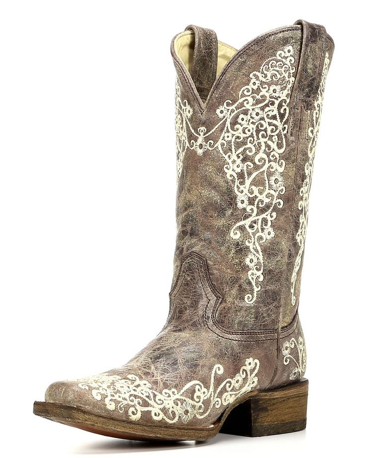 Women's Crater Bone Embroidery Square Toe Boot - Brown,