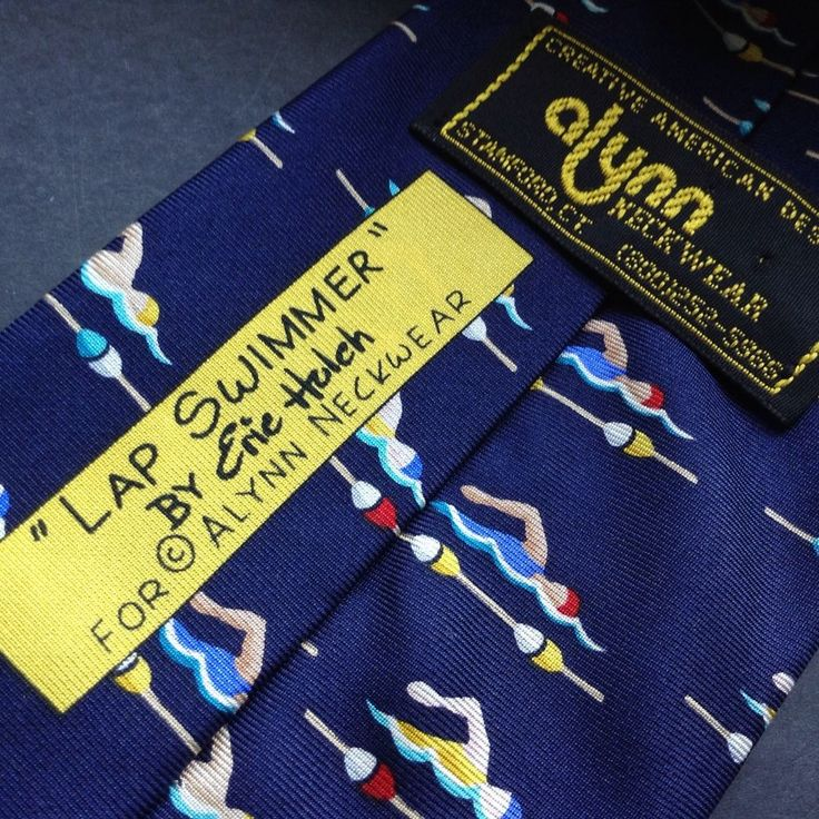 Lap Swimmer By Eric Holch For Alynn Neckwear 100% Silk Novelty Tie Made USA