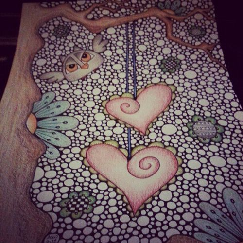 Love in the woods. #owl #wood #tree #doodle #flower #heart