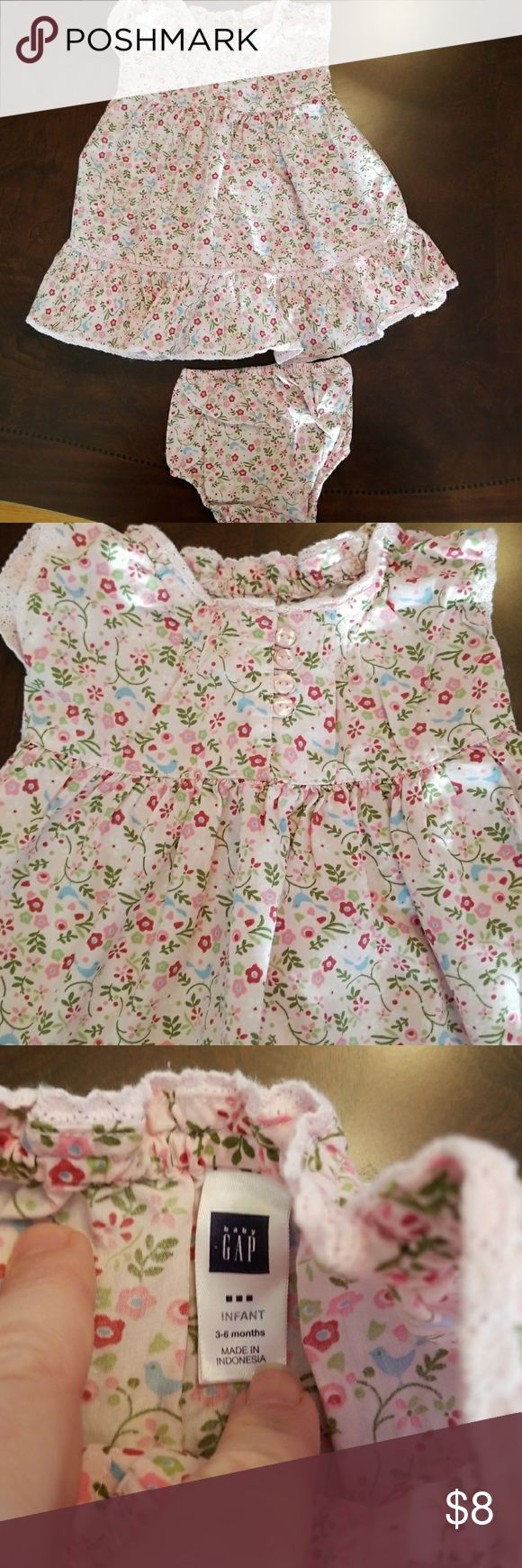 Size 3-6 months Baby Gap dress Size 3-6 months Baby Gap light pink dress with floral design, diaper cover included. GAP Dresses