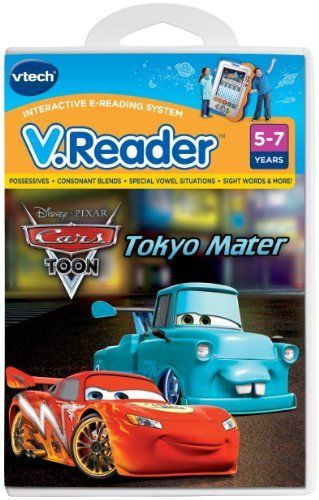 """VTech - V.Reader Software -Disney's Cars by V Tech. $6.99. From the Manufacturer                Mater takes a pit stop to tow a broken down car home and ends up in Japan. While there, he is challenged to a """"drift"""" race through the streets of Tokyo all the way to the top of Tokyo Tower. Will he win the race? He will need some pretty slick """"modifications"""" and a little help from his friend Lightning """"Dragon"""" McQueen.                                    Product Description            ..."""