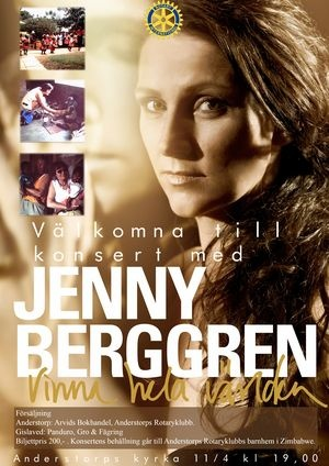 Poster for Anderstorp church event - 11 April 2013. From Rotary Sweden site. #jennyberggren #aceofbase