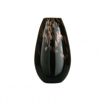 Droplet Vase, Gold Shimmer, Black Glass