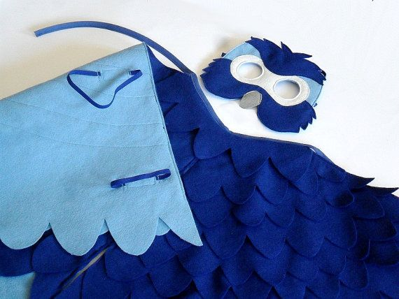 Children Bird Costume Blue Macaw Arara Parrot Wings by BHBKidstyle