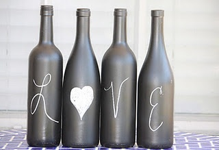 Chalkboard Wine Bottles.  Cute for party menus/centerpieces, and would be fun as home decor too!