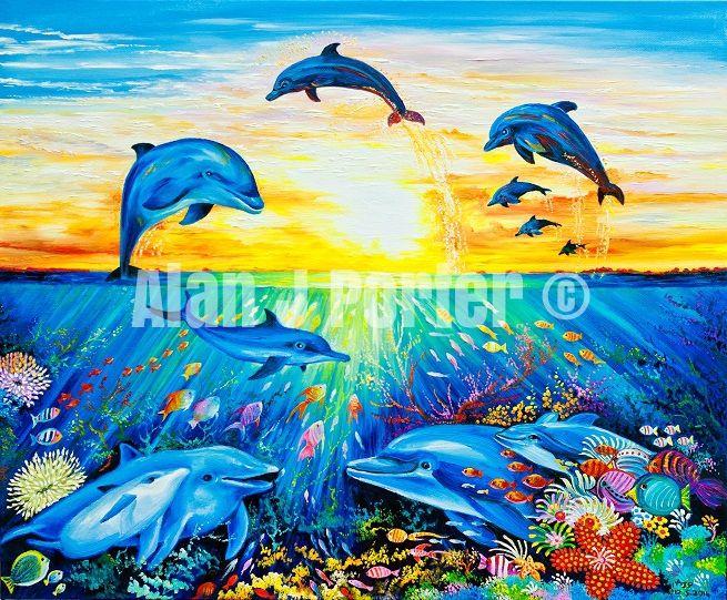 #alanjporterart #kompas #art #animals #dolphins #paintings #originaldesign #beautifulcolors #oil #fish #sunset #sea #sun