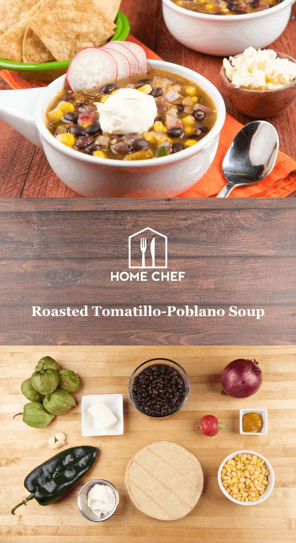 Roasted Tomatillo-Poblano Soup With Fresh Tortilla Chips