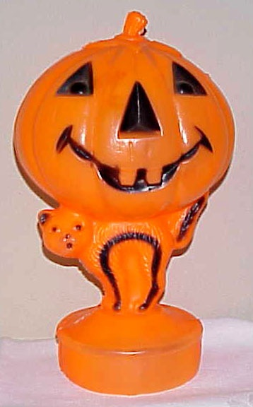 Jack O'Lantern & Cat Plastic Halloween Lamp, We have 3 of these old  original pumpkin lights. I love these things!