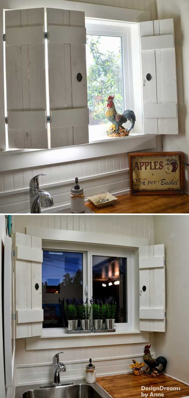 Add a bit more rustic style to your kitchen by creating this DIY rustic shutters.