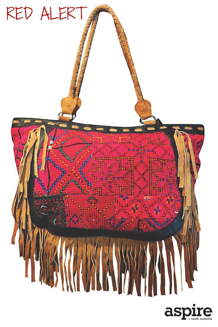 Embroidered suede fringe bag $295 from El Cabello http://elcabello.com.au/  #Red #Handbag #Shopping #Adelaide #SouthAustralia