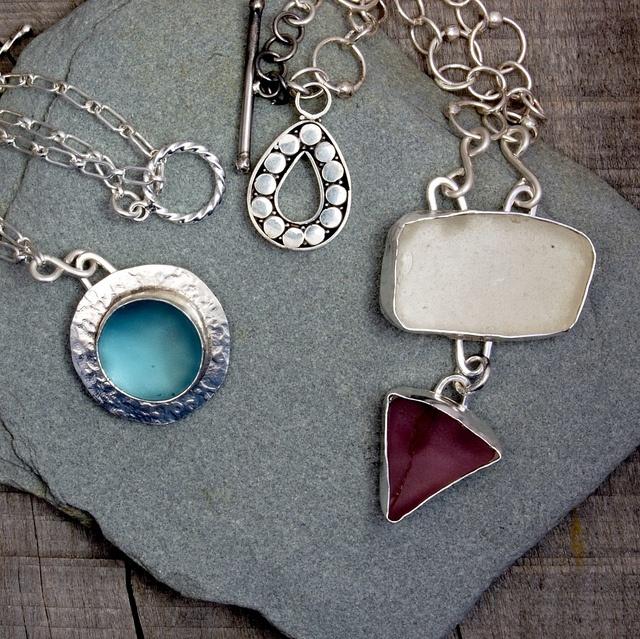 Custom sea glass remembrance necklaces