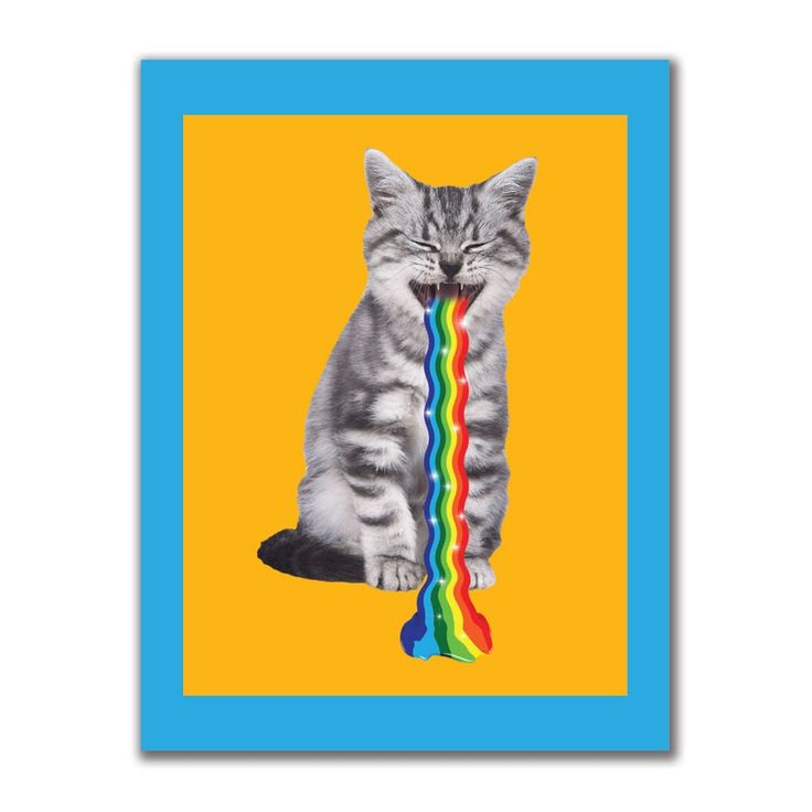 Rainbow Vomit Cat 4x3in. Rectangular Decal Sticker