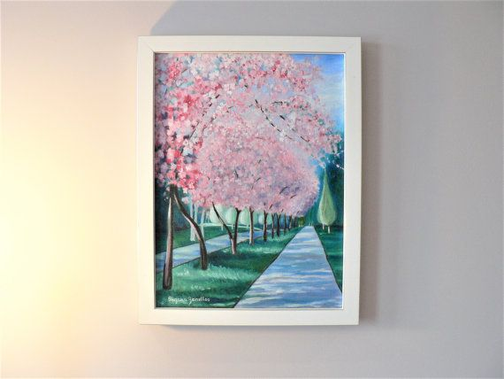 Original Pink Cherry Blossom Trees oil Painting  Park