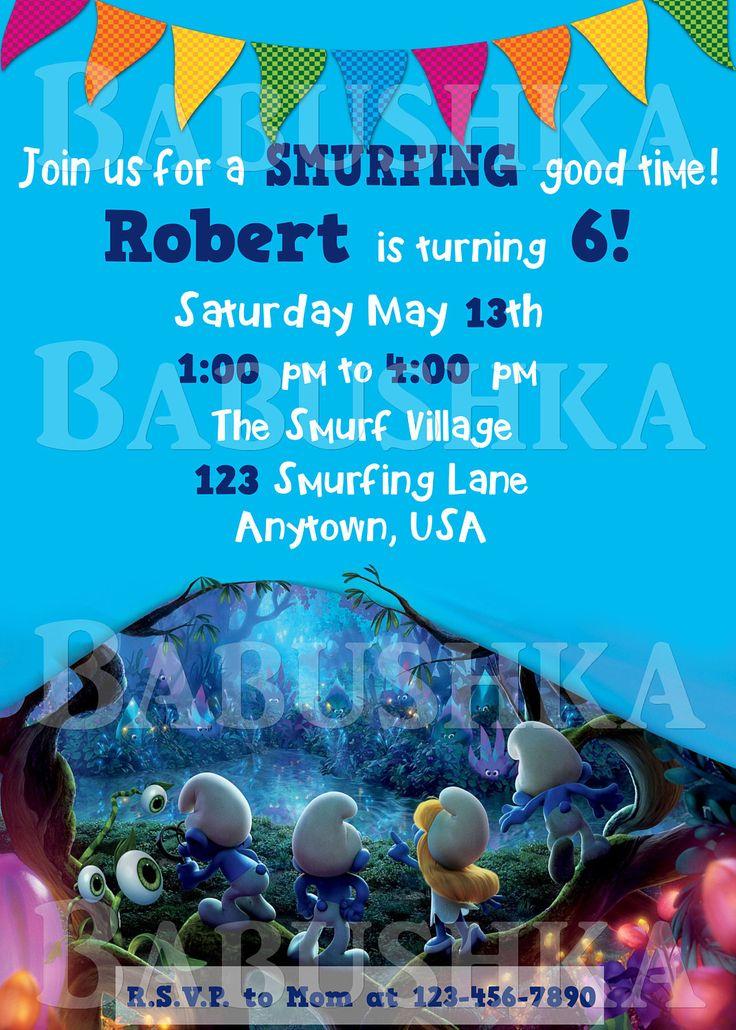 Smurfs Birthday Party Invitation/ The Smurfs Movie Themed Party Invite by BabushkasPrintables on Etsy