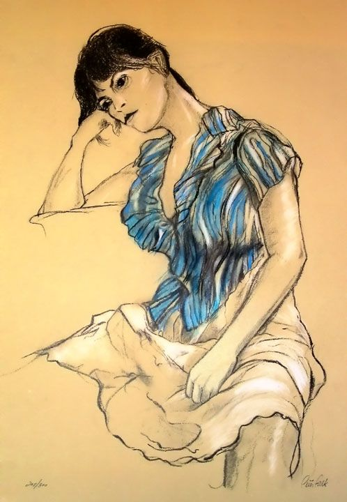 'Girl in Blue Blouse' by Peter Falk, better known as the TV detective Columbo, was something of an avid sketcher. While working in the film 'Wings of Desire' by Wim Wenders, his sketches that he took between film breaks became part of the film