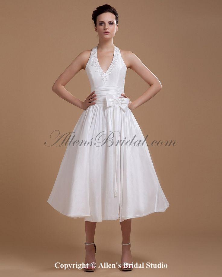 Satin Halter Neckline Tea-Length A-line Wedding Dress with Sash on sale at affordable prices, buy Satin Halter Neckline Tea-Length A-line Wedding Dress with Sash at AllensBridal.com now!