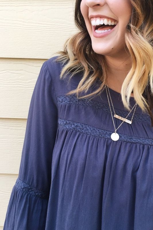 Ever After Blouse in Navy    ROOLEE