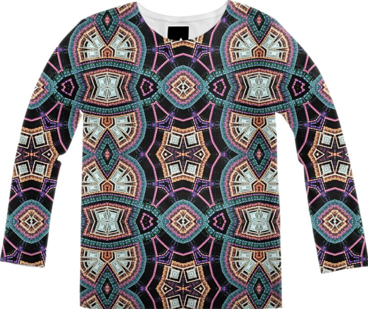 LONG SLEEVE SHIRT with geometric fractal pattern from Print All Over Me