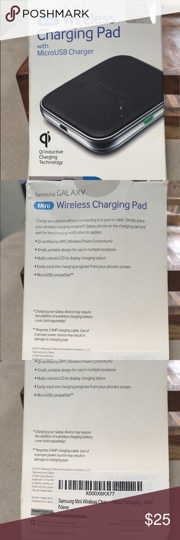 Samsung Galaxy Mini Wireless Charging Pad NWT! Charge your phone without connecting to a port or cable! Just lay it on this wireless charging pad. Great for living rooms or bedrooms where you need a quick charge up. NOTE: the box is open, but the items are all included and never before used. This was a gift and i no longer had a Samsung phone by the time i received it. I've included a picture of the items. Any questions let me know! Samsung Galaxy Accessories Phone Cases