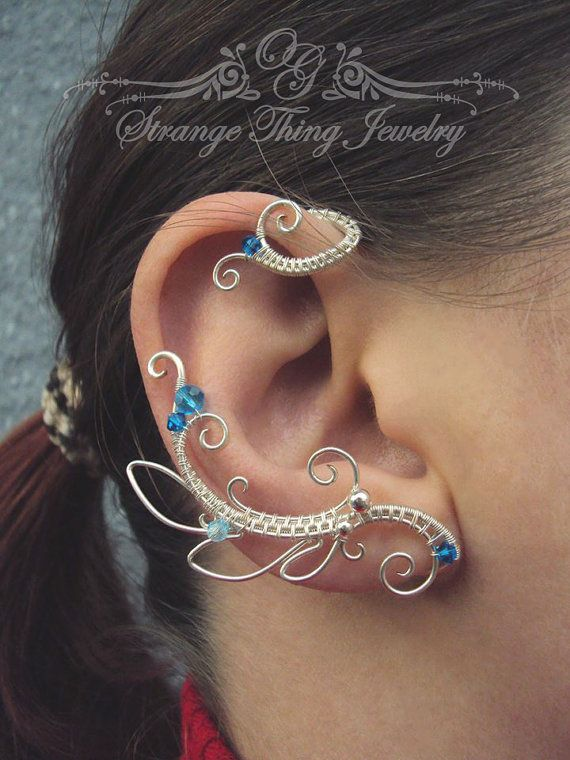 Pair of wire wrapped ear cuffs Neptune by StrangeThingJewelry