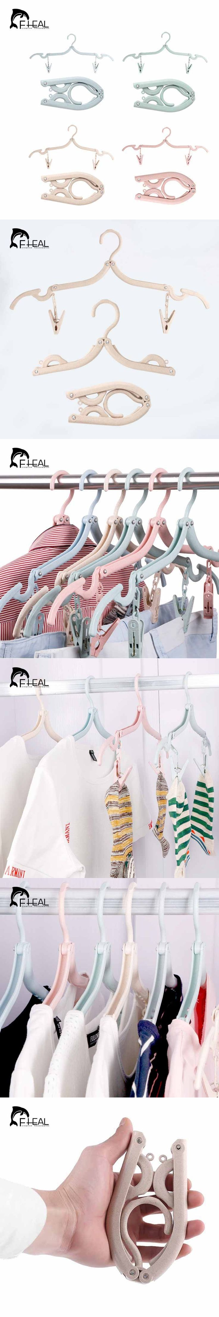 FHEAL Portable Folding Clothes Hanger And 2 clips Multifunctional Underwear Bra Socks Hanger Clips Clothing Storage Rack